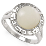 14k Gold Greek Genuine Mother of Pearl Ring