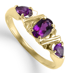 14k Gold three stone Amethyst Mother's Ring