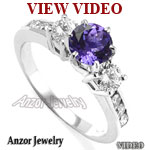 Tanzanite & Diamond Three Stone Ring in Platinum