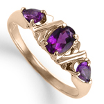 Three Stone Amethyst Ring in 18k Gold