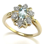 Diamond and Aquamarine 14k Gold Russian style