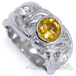 Men's 14k Gold Diamond And Citrine  Ring