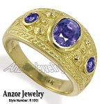 Men's Genuine Tanzanite Ring 14k