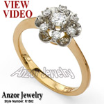 Russian Style Diamond Engagement Ring 14k