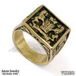 Lions Facing The Ten Commandments Ring in 14k Gold