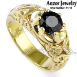 Men's 18k Yellow Gold ROCOCO design Diamond Ring