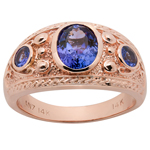 Men's Genuine Tanzanite Ring 14k rose gold