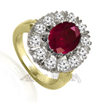 Russian Style Ruby Diamond Ring 18K