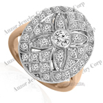 Russian style Diamond Ring 18k Rose & White Gold