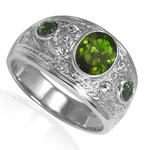 Men's 14k Green Tourmaline Three-Stones Ring