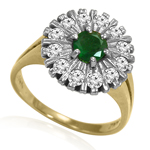 Russian Style Diamond & Emerald Ring in 14K Gold