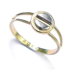 14k Solid two tone Gold Design Ring
