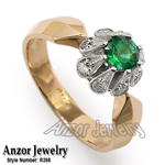 old Russian style Emerald & Diamond ring 585
