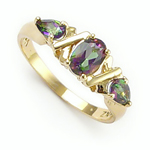 Three Stone Topaz Mother's ring Solid 14k Gold