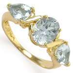 Three Stone Aquamarine Ring 14k Gold