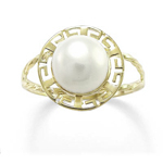 14k Pearl Greek Design Ring