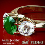 14k Gold Emerald Diamond Anniversary Ring