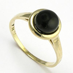 14k Yellow Solid Gold Genuine Black Onyx Ring