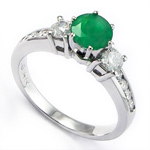 14k Gold Emerald Diamond Engagement Ring