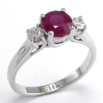 14k Gold Ruby and Diamond Three Stone Ring