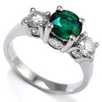 Emerald Diamond three Stone Ring 18k