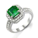 18k White Gold Emerald Emerald Ring