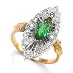 Russian Style Diamond Emerald Ring 14k Gold