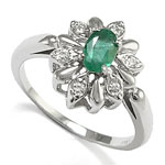 14K Gold  Emerald Diamond Ring