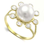 9.5mm Pearl Ring with CZ