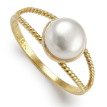 Solid 14k Gold White Pearl Ring