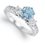14k Gold Aquamarine Diamond Ring