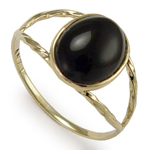 14k Solid Yellow Gold Genuine Onyx Ring
