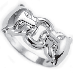 Sterling Silver Cat Head Ring 925