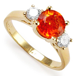 Orange Sapphire and Diamond ring in 14k gold