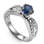 Ceylon Sapphire and Diamond Anniversary Ring 18k