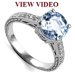 18K White Gold Aquamarine Diamond Ring