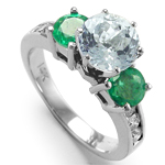 14k Gold Aquamarine diamond Emerald Ring