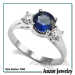 Ceylon Sapphire Diamond Three Stone Ring 14K GOLD