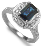 Ceylon Sapphire and Diamond  Ring in 18k