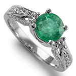 Natural Colombian Emerald and Diamond ring 18k