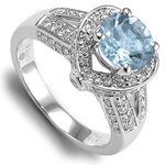 18k White Gold Aquamarine Diamond Heart Shape Ring