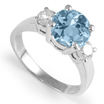 Aquamarine And Diamond Ring in Platinum 950