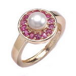 14k Gold natural Burma Ruby and Pearl Ring