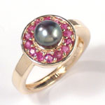 14k Gold Ruby and Pearl Ring