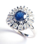 Russian style Sapphire and Diamond ring 585