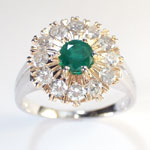 Russian Style Diamond and Emerald ring 585