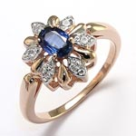 Russian Style Diamond sapphire ring 14k Gold 585