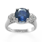14k Gold Sapphire Diamond Three Stone Ring