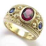 14k Gold Garnet and Ceylon Sapphire Men's Ring