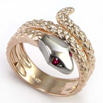Men's 14k Twisted Serpent Ruby Ring Rose gold